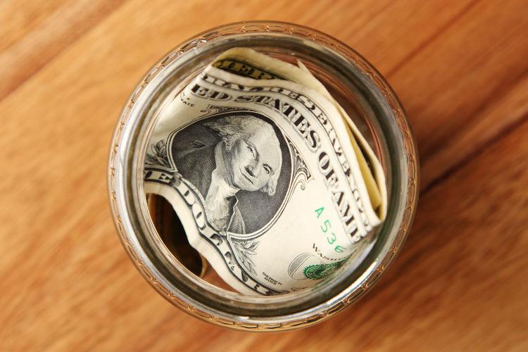 High angle view of jar on table