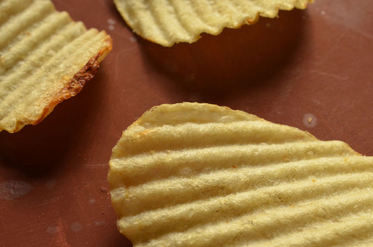 close up of ridged or wavy potato chips Close Up Food Close-up Food Food And Drink Freshness Indoors  No People Potato Chips Potatochips Ready To Eat Ridges Snack Time! Textured