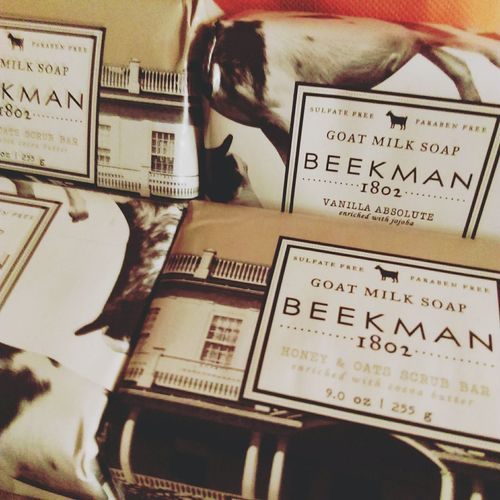 These Beekman1802 soaps I got via Evine are just devine. Goat Milk Soap Vanilla Absolute Honey and Oats