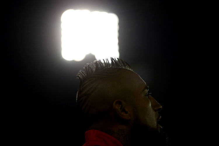 Arturo Vidal during the match Russia 2018 World Cup between Chile and Ecuador, played at the Estadio Monumental on August 5, 2017. Photo: Pablo Vera Lisperguer EyeEmNewHere Football Football Player Futbolistas Stadium Arturo Vidal Black Background Close-up Futbol Headshot Illuminated Indoors  Lifestyles Mohican Moican Night One Person People Real People Soccer Sport Sports Studio Shot