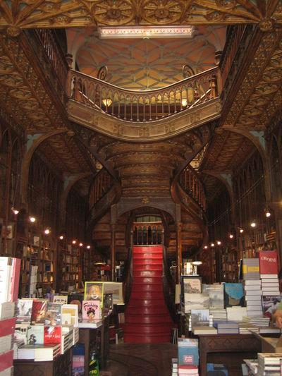 Staircase inside Lello Library - Porto, Portugal 2010 AArchitectureBBeautifulbBeautiful LibrarydDayiIlluminatediIndoors lLellolLello LibraryLLibrarynNo PeopleTTravel