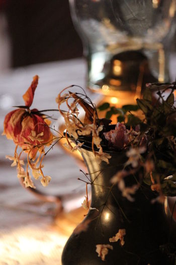 Close-up Copper Lamps Day Dried Flowers Flower Focus On Foreground Indoors  No People Still Life Still Life Photography Table Golden Light Copper  Yellow Sunshine