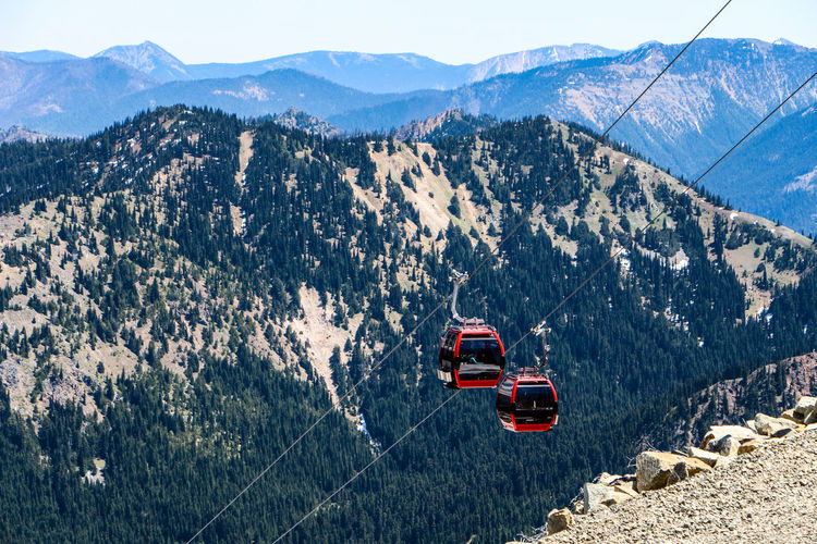 High angle view of overhead cable car on mountain