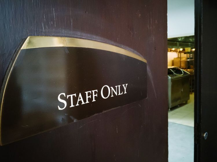 Communication Close-up No People Indoors  Day Label Work Place Staff Entrance Door Words Allow