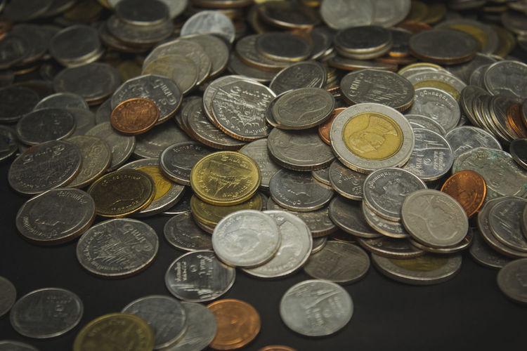 Money of Thailand. ( Thai bath coins ) Finance Coin Business Currency Wealth Metal Indoors  Economy Close-up Purchase Sell Bath Buy Thailand Value Bank Rich Money Cash Investment Exchange