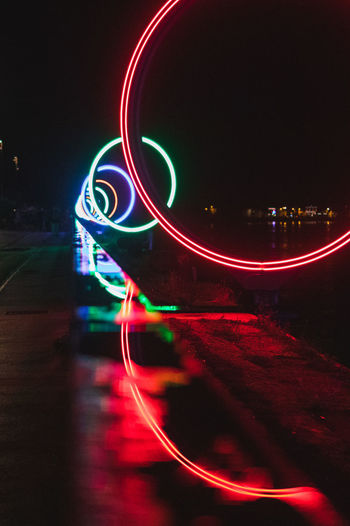 Close-up of light trails