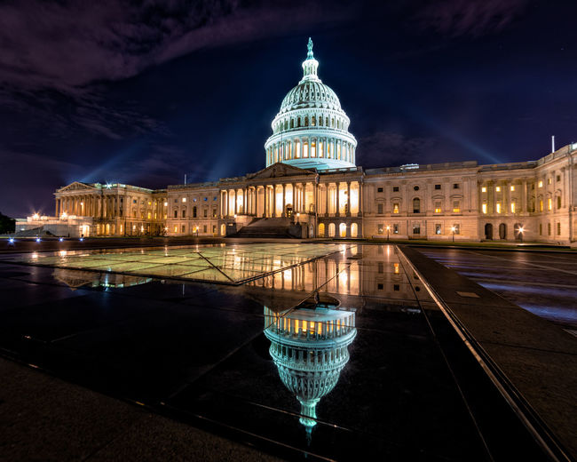 Early Morning Shots of the US Capitol US Capitol Building Architecture Building Building Exterior Built Structure City Dome Government Illuminated Night No People Outdoors Reflection Sky Sony A7riii Tourism Travel Destinations Water