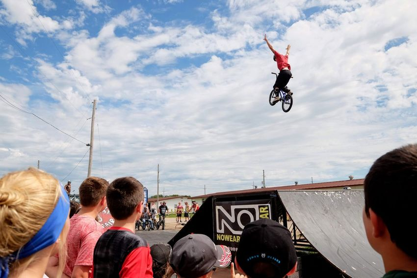 Nowear BMX Team Nebraska State Fair September 1, 2018 Grand Island, Nebraska Camera Work Check This Out EyeEm Best Shots FUJIFILM X-T1 Fujinon 10-24mm F4 Getty Images Grand Island, Nebraska Nebraska State Fair NowearBMX Photojournalism Action Action Shot  Bicycle Bmx  Bmx Cycling Cloud - Sky Crowd Day Events Extreme Sports Eye For Photography Freestyle Group Of People Jumping Leisure Activity Lifestyles Men Mid-air Nature Outdoors People Real People S.ramos September 2018 Series Skill  Sky Spectator Sport Stunt Transportation Watching Women