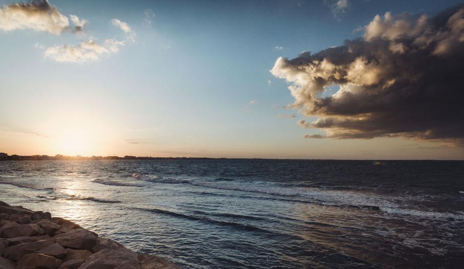 beautiful seascape over mahdia panoramic's view Dramatic Sky Mahdia/Tunisia Tunisia Beach Beauty In Nature Cloud - Sky Day Horizon Over Water Idyllic Mahdia Nature No People Outdoors Scenics Sea Sky Sun Sunlight Sunset Tranquil Scene Tranquility Water