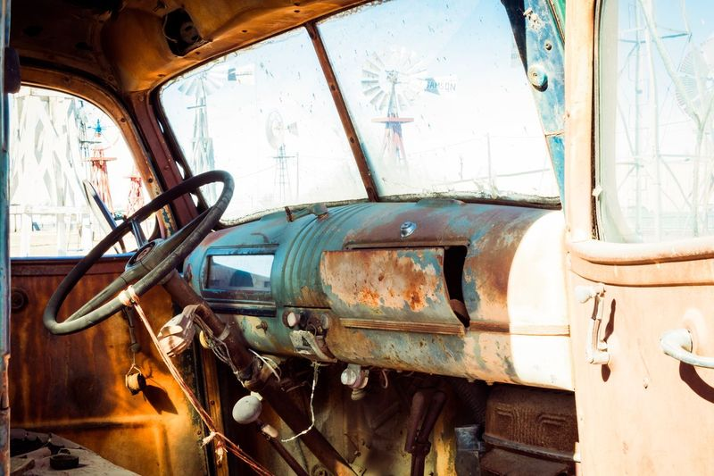 Transportation Car Mode Of Transport Obsolete Damaged Abandoned Land Vehicle Rusty Bad Condition Steering Wheel Run-down Old-fashioned Retro Styled Windshield Brown No People Day Outdoors Close-up