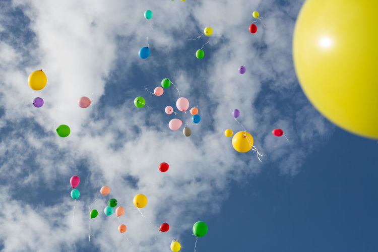 Wedding Ball Balloon Birthday Day Flying Helium Balloon Large Group Of Objects Low Angle View Mid-air Multi Colored No People Outdoors Sky
