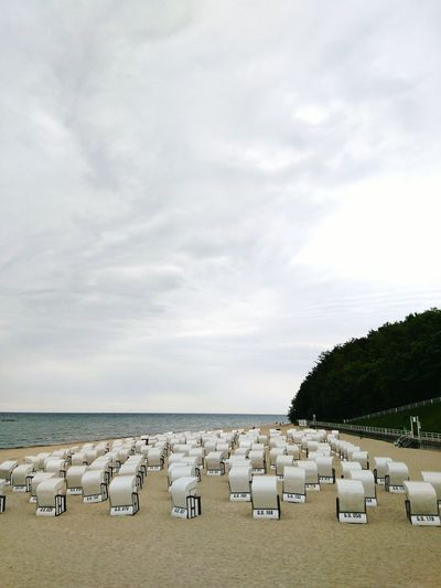 Strandkörbe Beach Sea Outdoors Horizon Over Water Large Group Of Animals Sand Sky No People Vacations Nature Summer Tranquility Day Landscape Water Animal Themes Scenics Building Exterior Beauty In Nature Strandkorb Rügen Lovers Rügenliebhaber Sellin