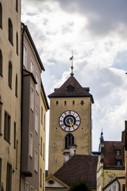 city tower Architecture ARTsbyXD Bavaria Bayern Germany Bell Tower Building Exterior Built Structure Clock Clock Face Clock Tower Cloud - Sky Clouds And Sky Day Low Angle View Minute Hand No People Outdoors Regensburg Religion Sky The Architect - 2017 EyeEm Awards The Great Outdoors - 2017 EyeEm Awards The Street Photographer - 2017 EyeEm Awards Time Tower