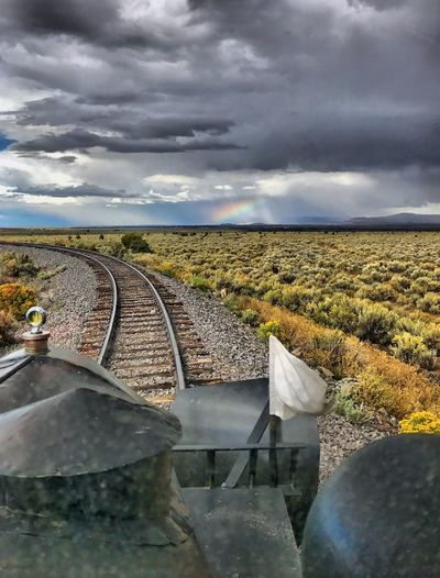 Rolling on Galloping Goose 5 and chasing the rainbow.. on the Cumbres & Toltec RR. Cloud - Sky Railroad Track Transportation Railroad Track Transportation