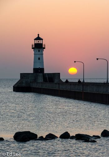 Duluth, MN Landscape_Collection Sunrise_sunsets_aroundworld Sunrise Beauty In Nature Minnesota Lake Superior Streamzoofamily Malephotographerofthemonth Water Built Structure Architecture Tower Sea Sky Building Exterior Lighthouse Scenics - Nature Beauty In Nature Waterfront