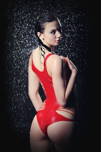 Model TFP Studio Shot Beauty One Person One Woman Only Only Women Red Red Swimsuit Models Water AQVA Aqua