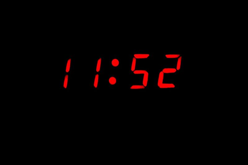 Time Digital Clock Digital Display Number Clock Black Background Red Alarm Clock Night Technology Close-up No People