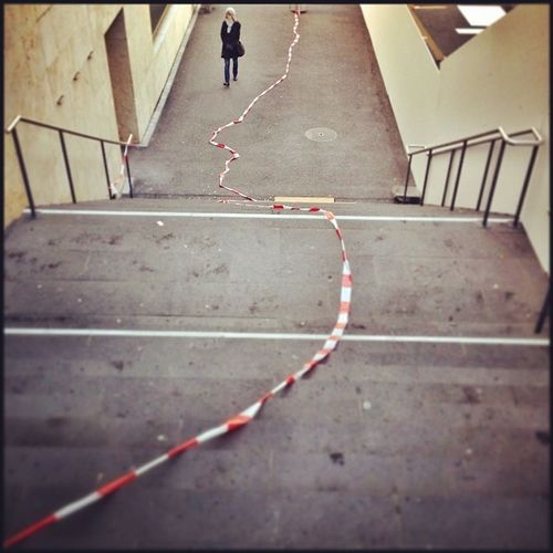 Broken Empty LINE One Person PHZH Railing Red Stairs Steps