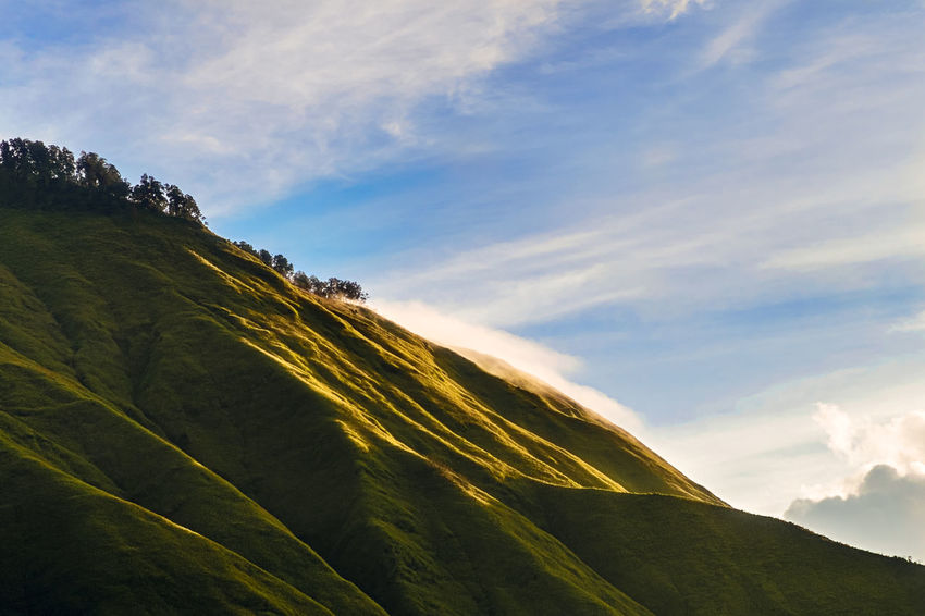 Beauty In Nature Blue Cloud Day Green Color Hill Landscape Lombok Majestic Mountain Nature No People Outdoors Pergasinganhill Sky Sunrise The Great Outdoors - 2016 EyeEm Awards The Great Outdoors With Adobe Tranquil Scene Tranquility Weather