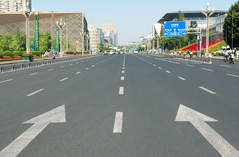 Tianfu Road in Chengdu Architecture Building Exterior Chengdu Chengdu City China City City Life City Street Day Lines Road No People Outdoors Road Sign The Way Forward Tianfu Road Tianfu Square Transportation