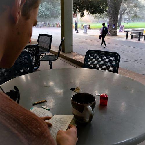 Proust and tea, sunrise on the Quad Swanns Way California Student Life Sunrise Quad Flag Raising Real People Lifestyles Tea Food And Drink Table Outdoors