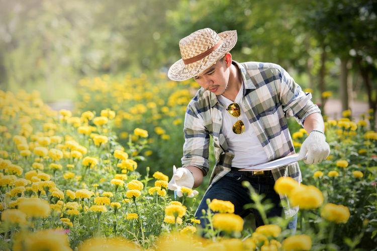 Man Examining Flowering Plants In Garden