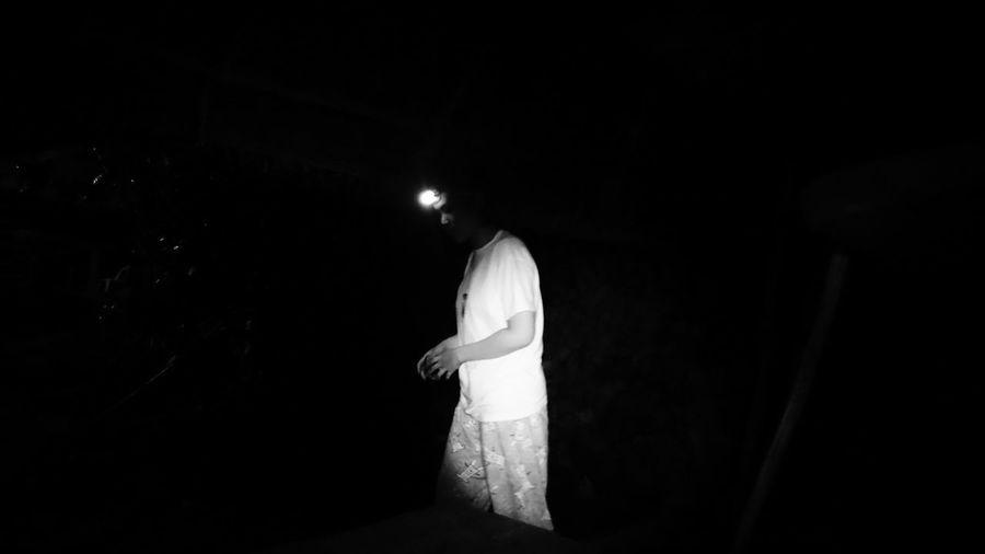View of illuminated people at night