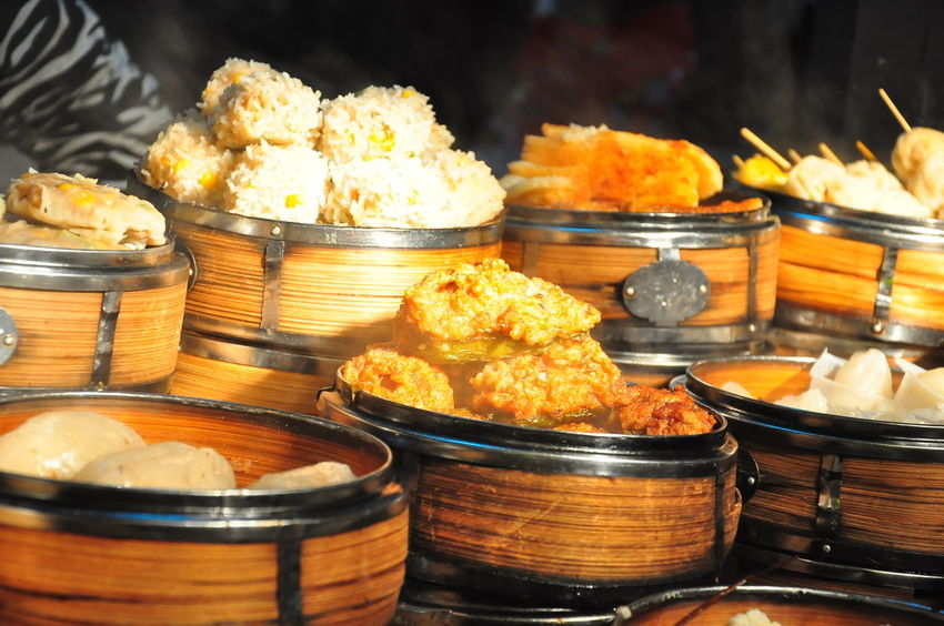 Some of common chinese food found in China. Including Dim Sum, pork knuckle, and the gwaihua fish Chinese Food Dim Sum Shanghai Chinese Street Food Food Food And Drink Food Stall No People Pork Knuckle Steam Food Street Food