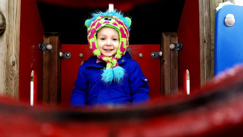 Out in the snow with my little monster Smiling Portrait Unexpected Photo Boy Child Monster Hat Snow Day Low Angle View Through A Gap Low Down Door One Person Religion Childhood Child Children Only Portrait Multi Colored Happiness Smiling Day Outdoors