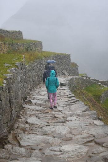 Rear view of woman walking on wall