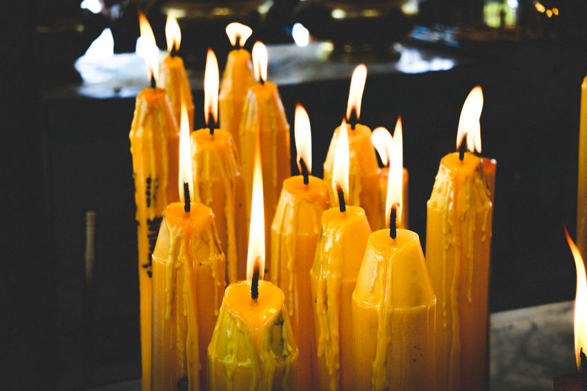 A lot of yellow candle with fire flame in Thai temple (wat) Candle Candlelight Flame Candle Flame Fire Hot Buddism Temple Thailand Wat Close-up Darkroom Burning Bonfire Lit Wax Candlestick Holder