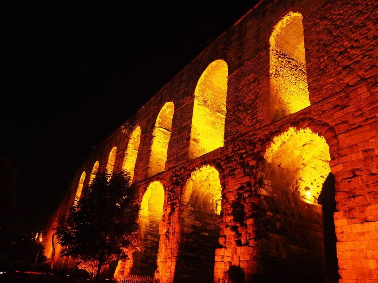 The aqua duct Architecture Night Built Structure History The Past Illuminated Building Exterior