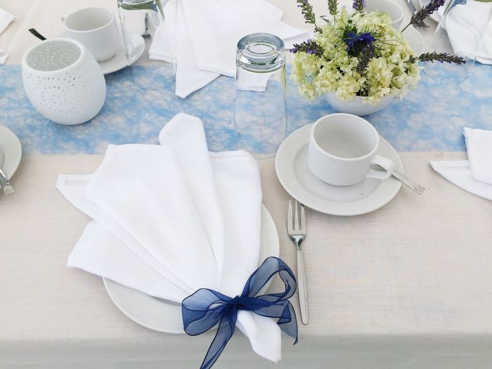 Wedding Plate Table Set Table No People Napkin Dishes Festive