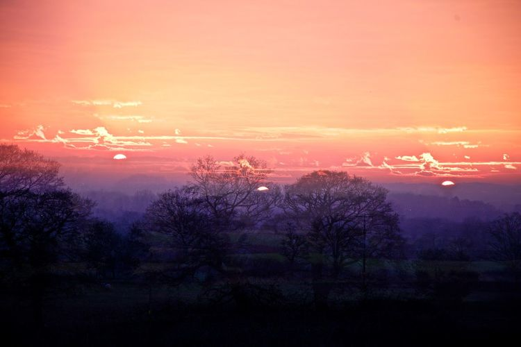Beauty In Nature Cold Temperature Multiple Exposures Nature No People Outdoors Romantic Sky Scenics Sky Sunset Sunset #sun #clouds #skylovers #sky #nature #beautifulinnature #naturalbeauty #photography #landscape Sunset Silhouettes