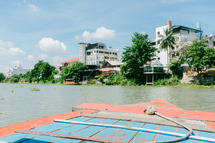 Ayutthaya Fujifilm_xseries Thailand Travel Destinations Water Architecture Building Exterior Built Structure Sky Nature Nautical Vessel Cloud - Sky Tree Plant Transportation Day Building City No People Mode Of Transportation Outdoors River Residential District