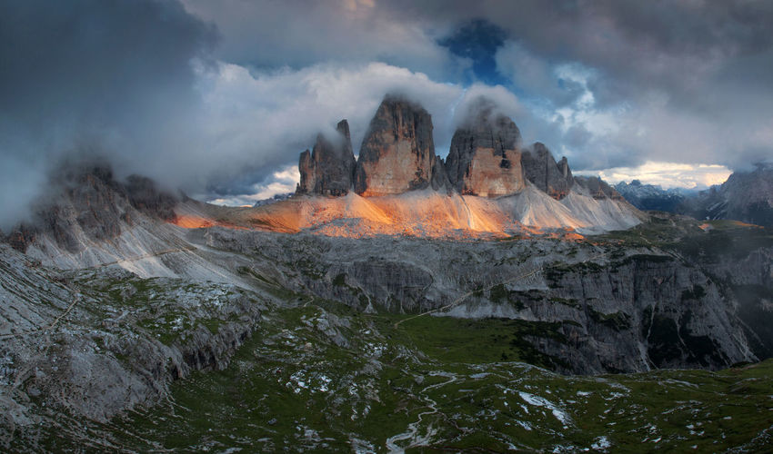 Landscapes from Dolomite Mountains, Italian Alps. Alpine Alps Dolomites Europe Italy Landscape Light Light And Shadow Mountain Nature Outdoors Panoramic View Photography Red Rocky Sky Storm Cloud Sunset Tre Cime Di Lavaredo View