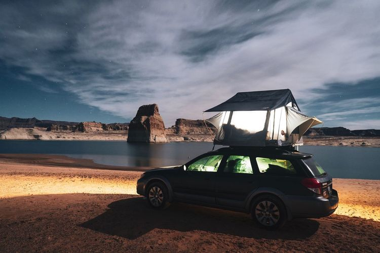 Rooftop Tent Tent Transportation Water Mode Of Transportation Cloud - Sky Sea Sky Beach Car Land Vehicle Nature Motor Vehicle Beauty In Nature Outdoors Sand