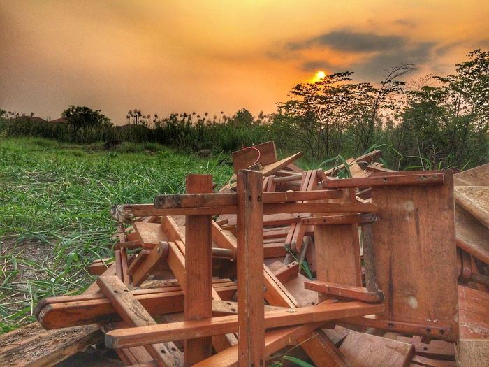 hdr dilapidate wood chair in forest Green Tree Evening Sunset Sun Hdr Photography HDR Forest Wood Wood Chair Chair Dilapidated Wood - Material Tree Outdoors No People Grass Sunset Sky Nature Field Plant Day Landscape
