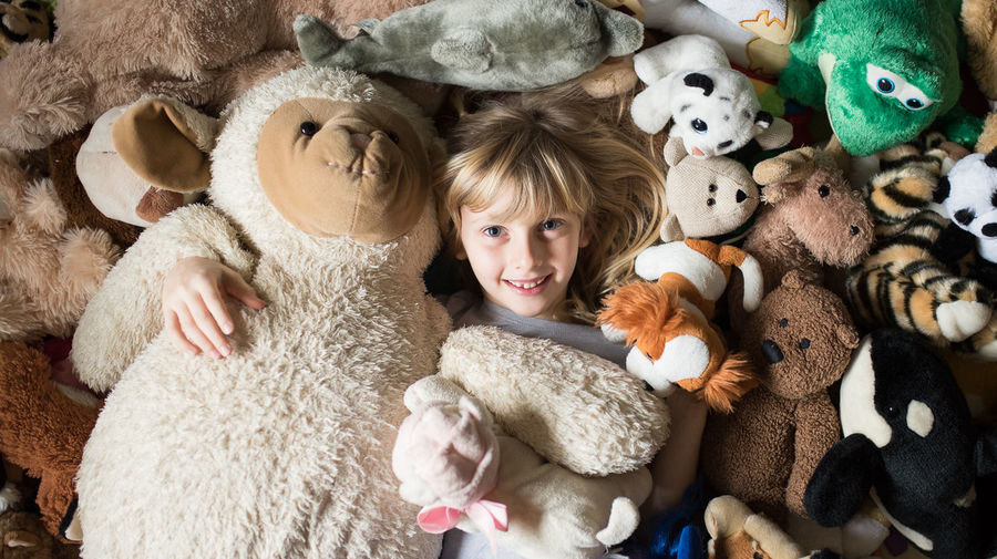 Directly Above Portrait Of Cute Girl Amidst Stuffed Toys At Home