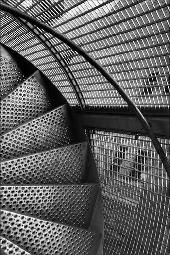Kris Demey Photography Blackandwhite Black And White Pattern Architecture Indoors  Built Structure Metal No People Full Frame Backgrounds Day Staircase Steps And Staircases Textured  Close-up Design Architectural Feature Steel Ceiling Modern Railing Repetition