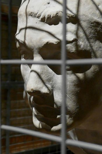 At the museum; sculpture in a cage Sculpture Museum Exhibition Värmlandsmuseum Värmlands Museum Karlstad Close-up Cage Trapped The Portraitist - 2018 EyeEm Awards