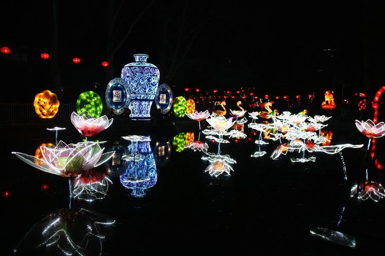 Nightphotography Night Lights Light And Shadow China LuoYang Park Traditional