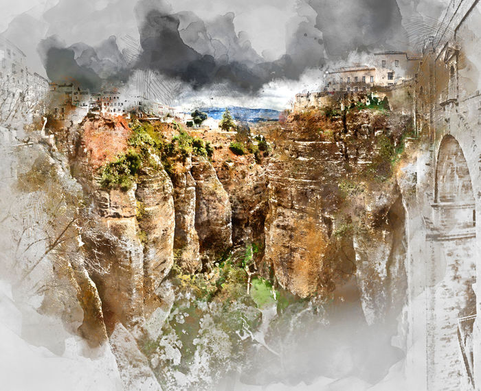 Digital watercolor painting of a Ronda canyon. Province of Malaga, Andalusia, Spain Andalusia Digital Watercolor Digital Watercolor Painting Malaga Puente Nuevo De Ronda Ronda SPAIN Watercolour Altered Beauty In Nature Bridge Canyon Cliff Digital Art Digital Illustration Digital Painting Digitally Altered Digitally Generated Digitally Generated Image Illustration Nature Rock - Object Rock Formation Watercolor Watercolor Painting