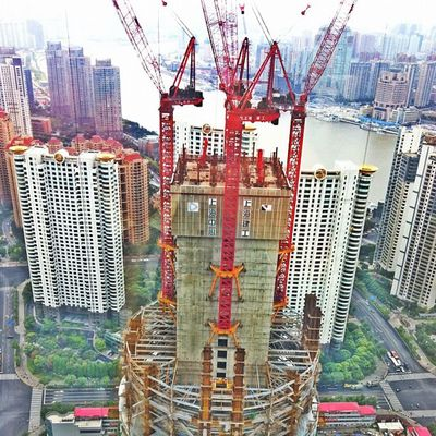 New Building Shanghai Crane - Construction Machinery Construction Crane Financial District  Tower Urban Scenery