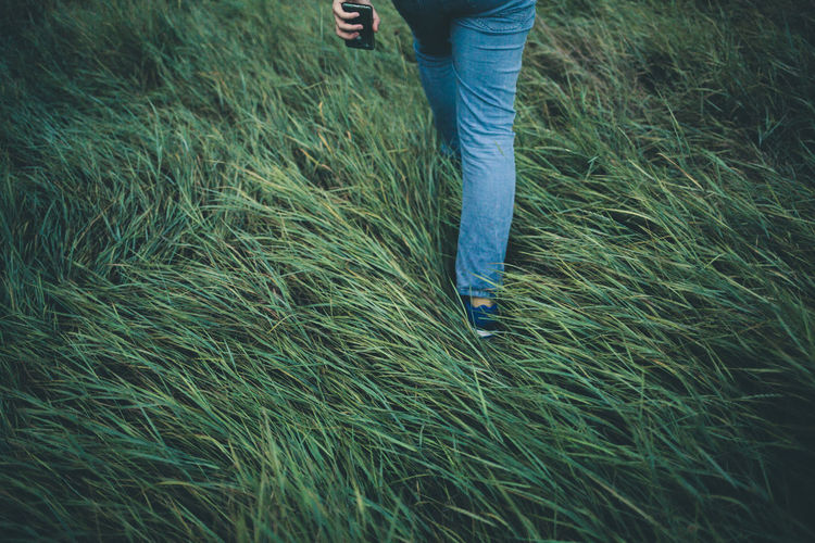 Low Section Of Woman Walking On Grass