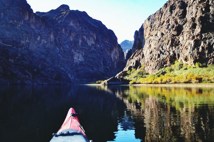 Serene view from kayak in river canyon