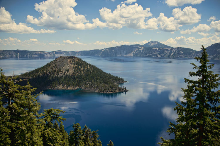 Scenic View Of Crater Lake Against Sky