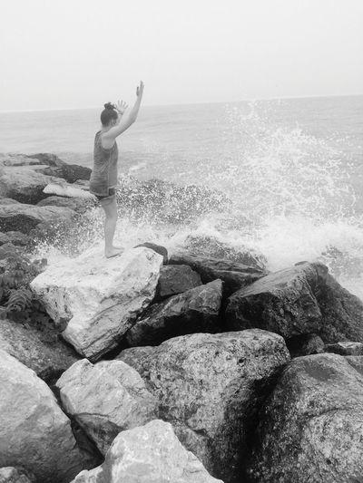 Queen of the sea Rocks Splash Water Wave Sea Full Length Child Beach Childhood Motion Sand Girls Coastline Crashing Rocky Coastline Ocean Tide Seascape