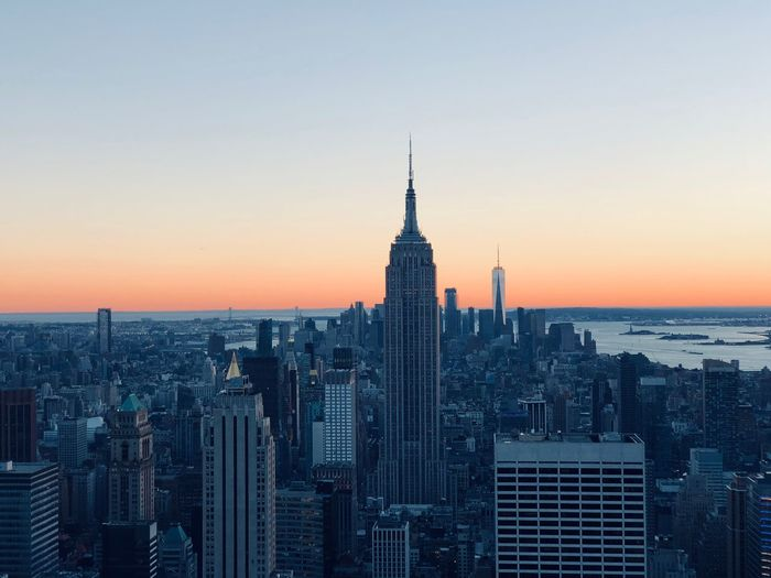 Manhattan Empire State Building Sky Building Exterior Architecture Built Structure City Office Building Exterior Building Tower Tall - High Cityscape Sunset Skyscraper Travel Destinations Urban Skyline Tourism