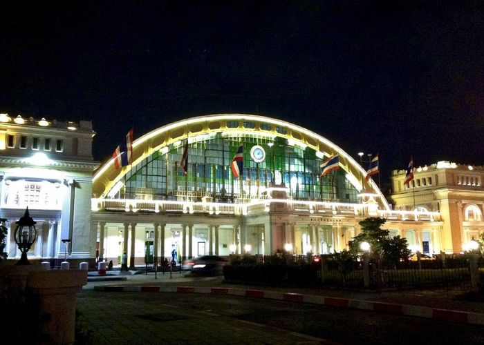 Low angle view of Bangkok Hua Lamphong Railway Station at night. Bangkok Hua Lamphong Railway Station, Bangkok, Thailand Low Angle View Night Photography Arch Architectural Column Architecture Arts Culture And Entertainment Building Building Exterior Built Structure City IPhoneography Illuminated Nature Neo Renaissance Night No People Outdoors Railway Station Sky Street Transportation Travel Travel Destinations
